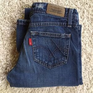 Levi's Super Low Boot Cut Size 1 Distressed